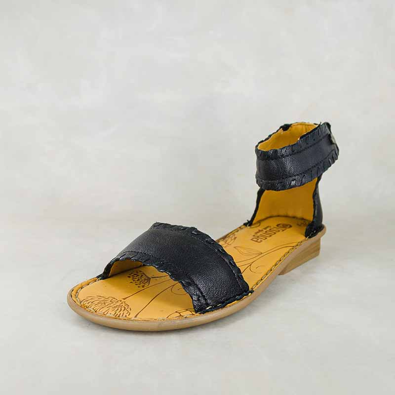 Thushana : Ladies Leather Sandal in Black Cayak Sale