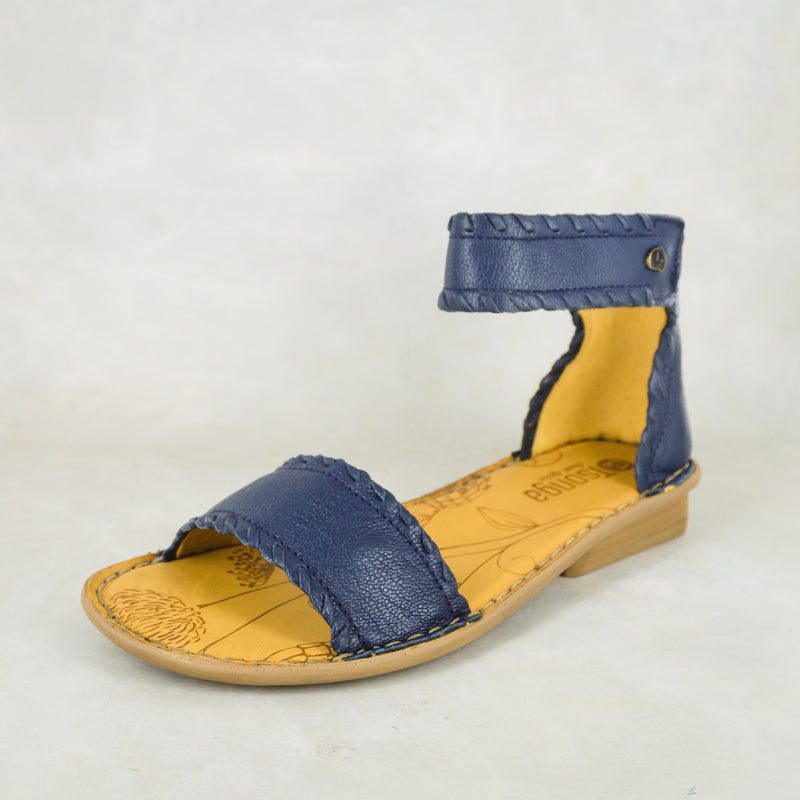 Thushana : Ladies Leather Sandal in Denim Cayak Sale
