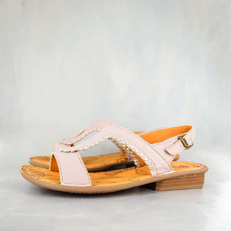 Wiliza : Ladies Leather Sandal in Rose Cayak & Bark Domus