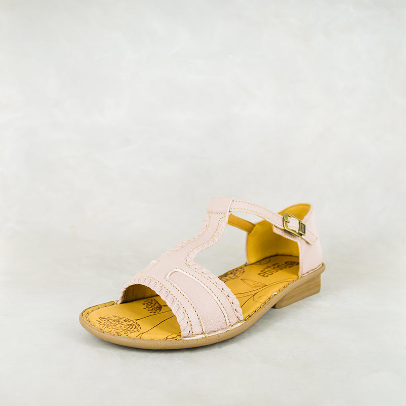 Mankumbu : Ladies Leather Sandal in Rose Cayak