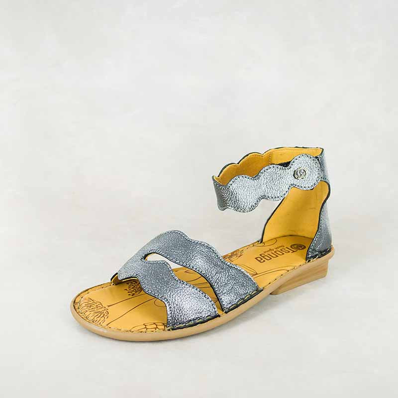 Khifiza : Ladies Leather Sandal in Anthracite Metal Grain Sale