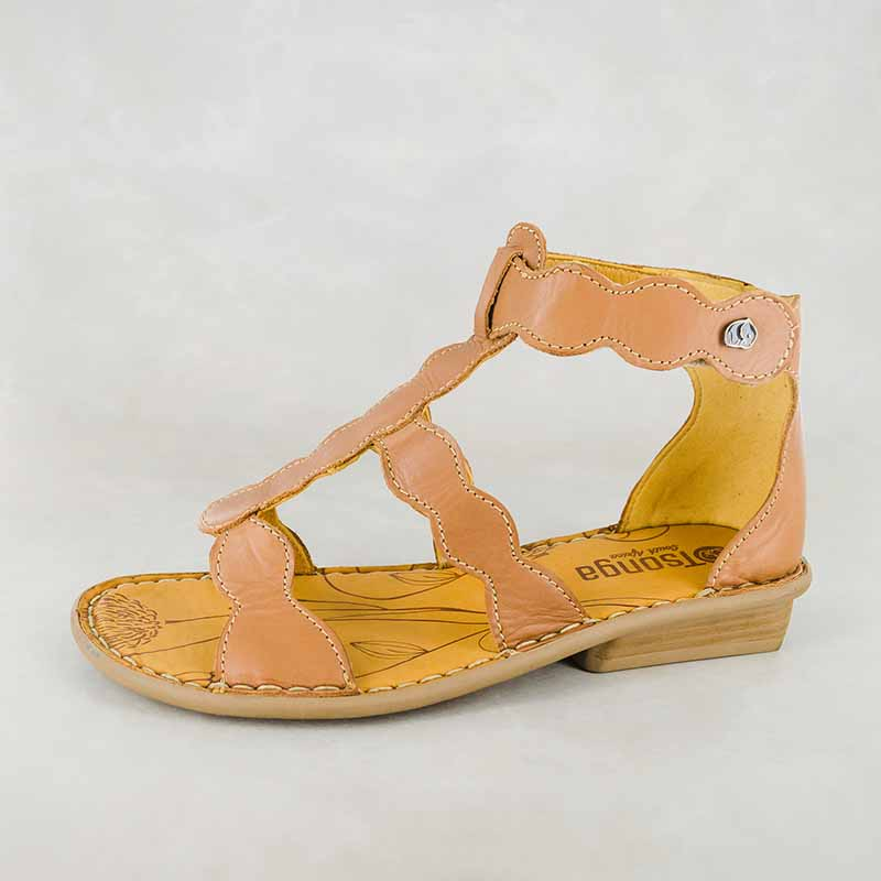 Bandayo : Ladies Leather Sandal in Hazel Relaxa