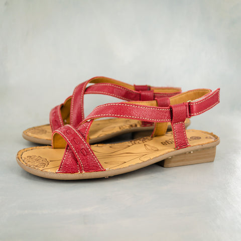 Isanya : Ladies Leather Tslops Wedge Heel Sandals in Hazel Relaxa