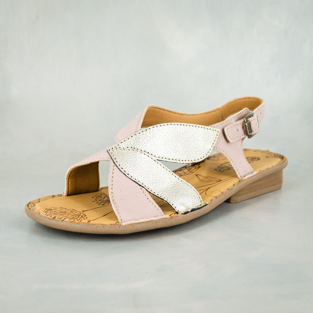 Naphaza : Ladies Leather Sandal in Rose Cayak & Bark Domus