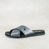 Cengezi : Ladies Leather Sandal in Anthracite Metal Grain