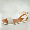 Jezisa : Ladies Leather Sandal in Opal Rockafella & Gravel Vintage