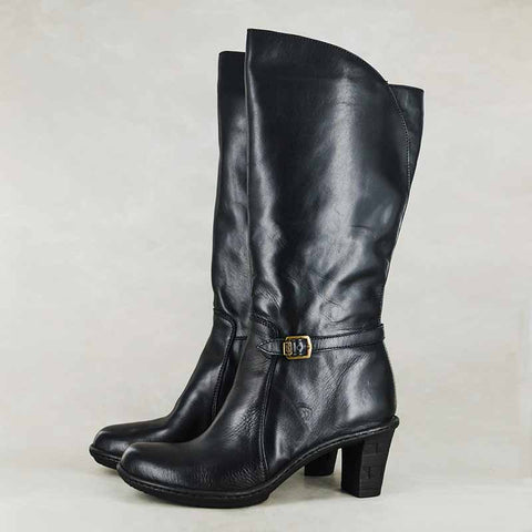 Maluju : Ladies 100% Wool-lined Leather Boot in Black Vintage