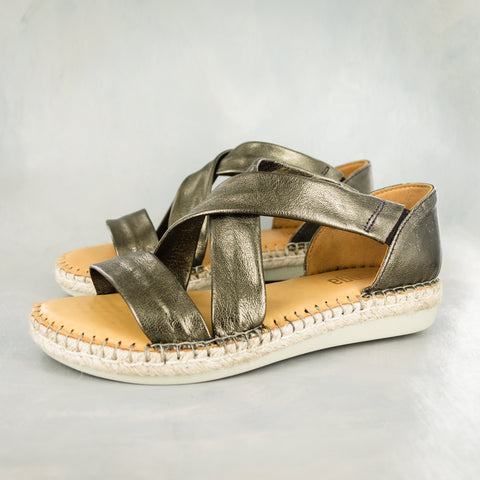 Consisela : Ladies Leather Espadrille Shoe in Aria Bosforo & Bark Grid