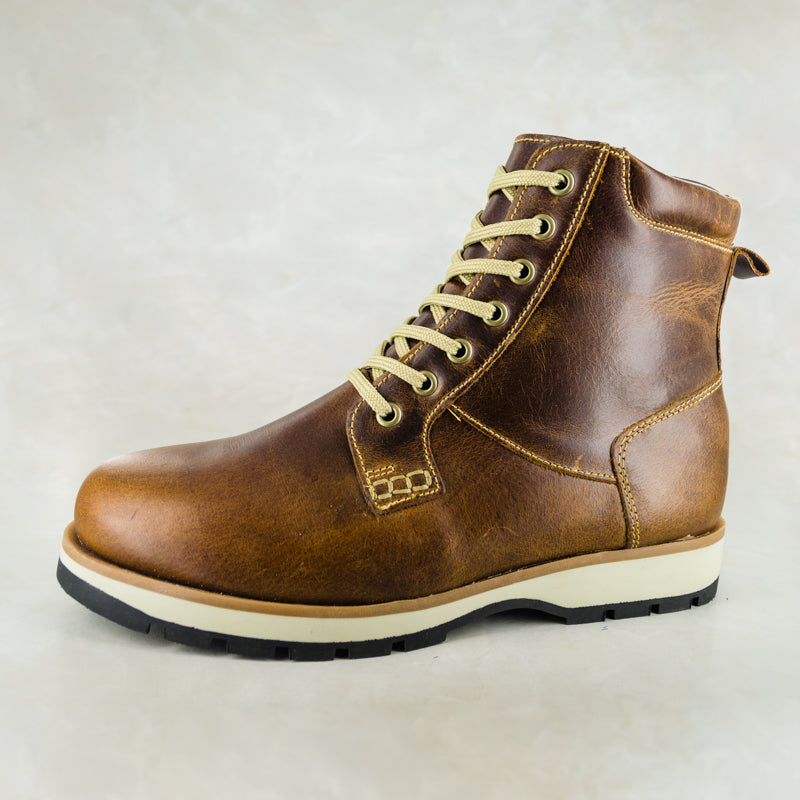 Zibonele : Mens Lace-Up Boot in Brown Carvano