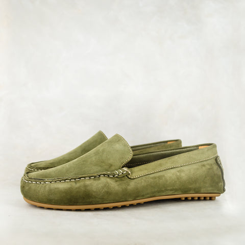 Exwaya : Mens Leather Boat Shoe in Tan Nubuck