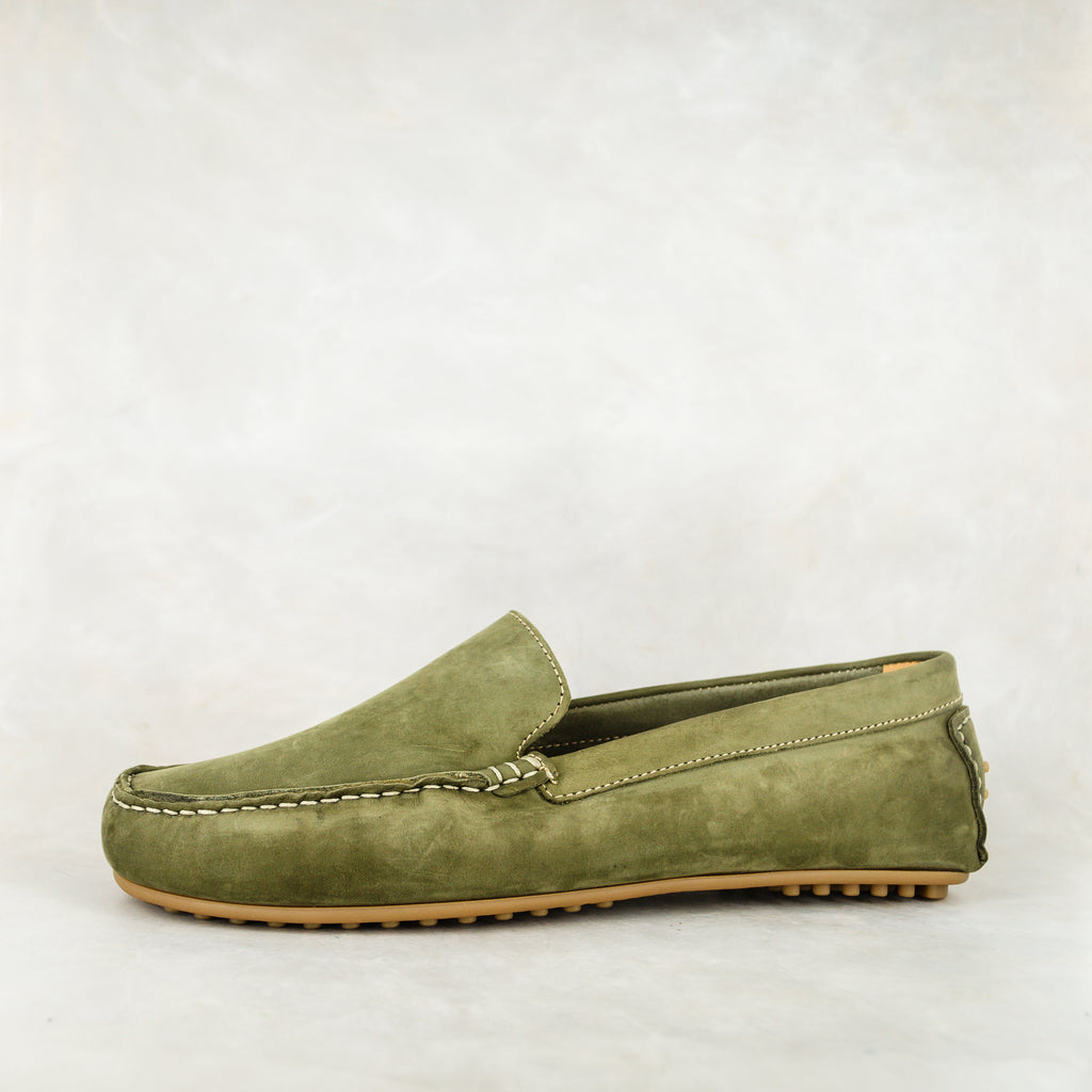 Isijeziso : Men's Leather Shoe in Olive Nubuck