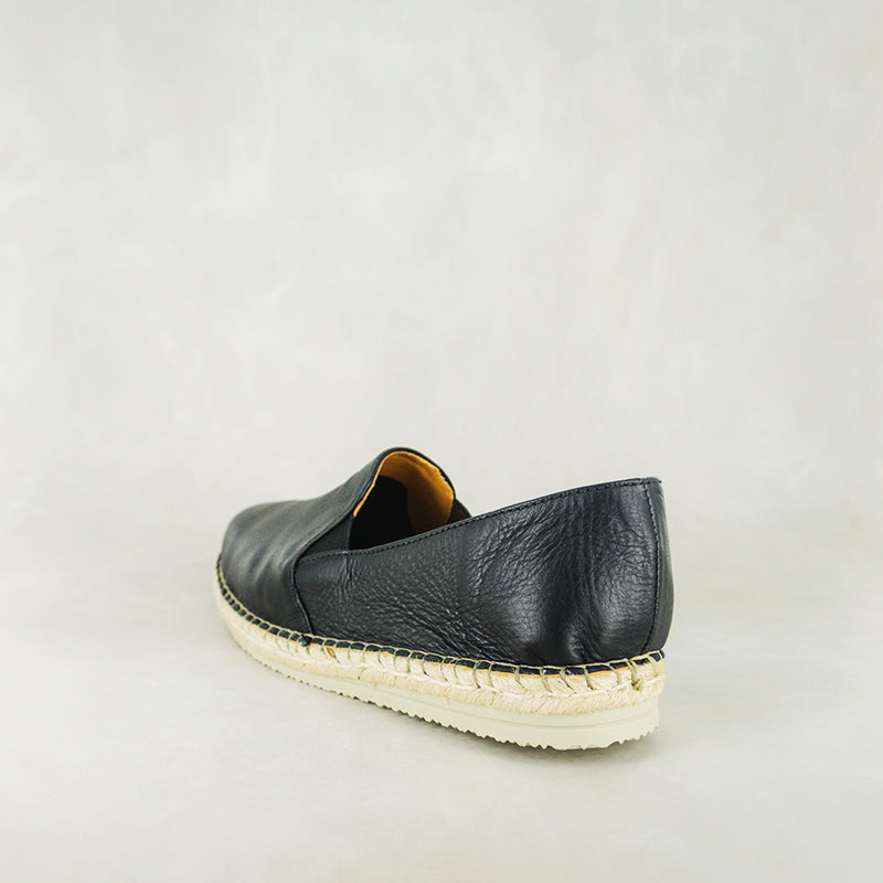Numzana : Mens Leather Espadrille Shoes in Black Vintage