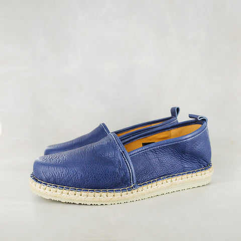Numzana : Mens Leather Espadrille Shoes in Denim Vintage Sale