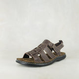 Muncu : Mens Leather Sandal in Choc Delta