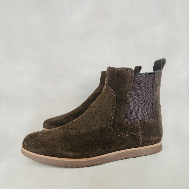Kalusizi : Mens Leather Boot in Choc Suede