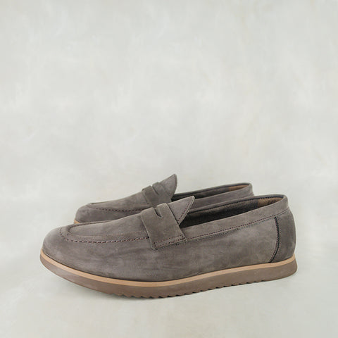 Enyelo : Mens Leather Slip-On Shoe in Navy Nubuck