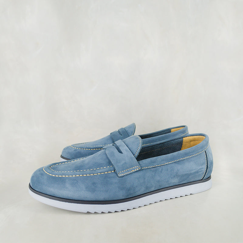 Lacuka : Mens Leather Shoes in Navy Nubuck