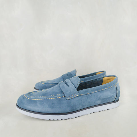 Tebesela : Mens Leather Espadrille Shoes in Denim Vintage Sale