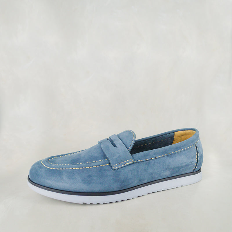 Lacuka : Mens Leather Shoes in Navy Nubuck Sale