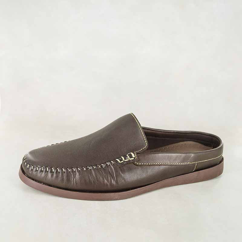 Enyelo : Mens Leather Slip-On Shoe in Choc Delta