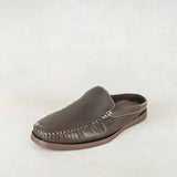 Enyelo : Mens Leather Slip-On Shoe in Choc Relaxa