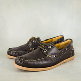 Impango : Mens Leather Boat Shoe in Choc Relaxa