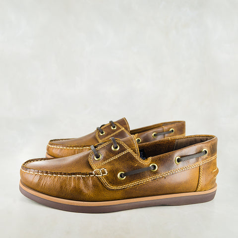 Exwaya : Mens Leather Boat Shoe in Olive Nubuck