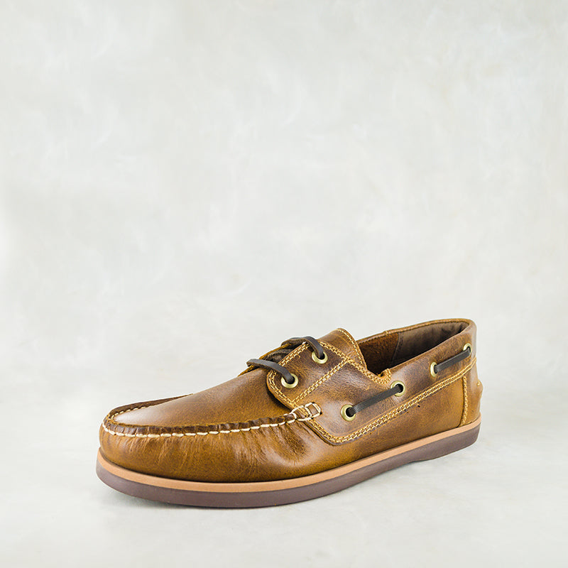 Thami : Mens Leather Boat Shoe in Brown Carvano