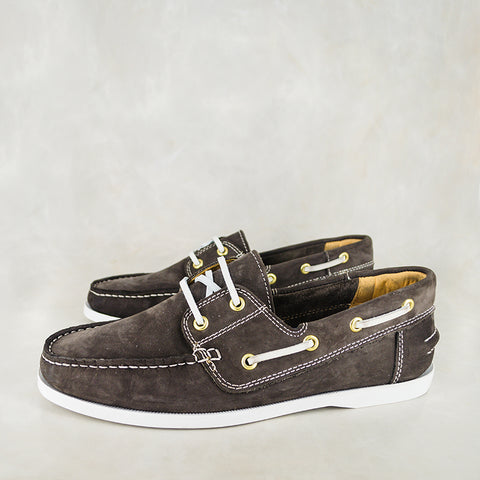 Phazima : Mens Leather Slip-On Shoe in Choc Nubuck