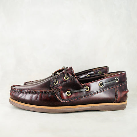 Thami : Mens Leather Boat Shoe in Navy Carvano
