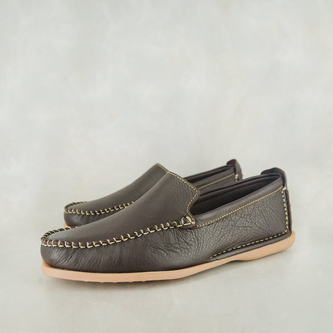 Exwaya : Mens Leather Boat Shoe in Choc Nubuck