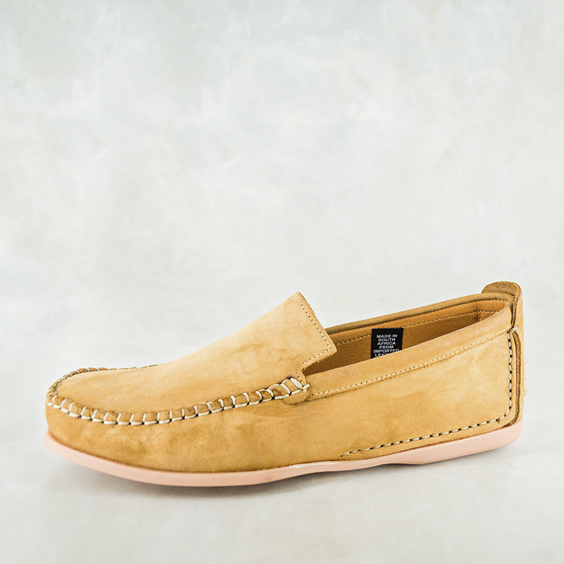 Banakho : Mens Leather Moccasin in Tan Nubuck