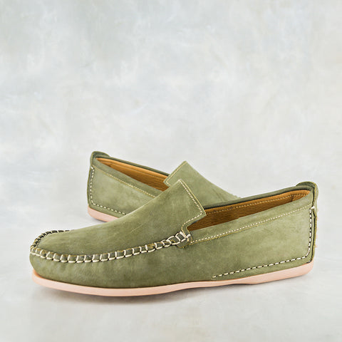 Exwaya : Mens Leather Boat Shoe in Navy Nubuck & Brown Carvano