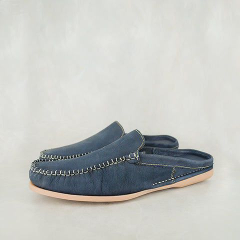 Manqindi : Mens Leather Espadrille Shoes in Verlino Relaxer & Navy Suede Sale