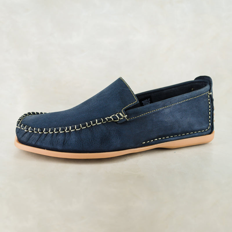 Insonga : Mens Leather Moccasin in Marine Buff Burn