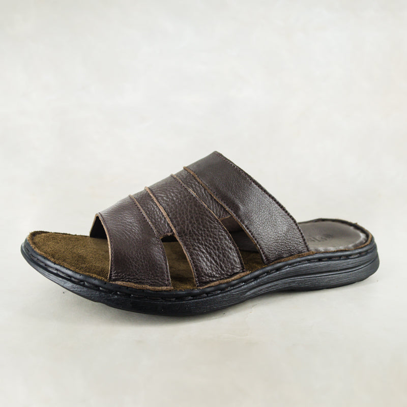 c5a7657c304 Dukuza : Mens Leather Sandal in Choc Delta