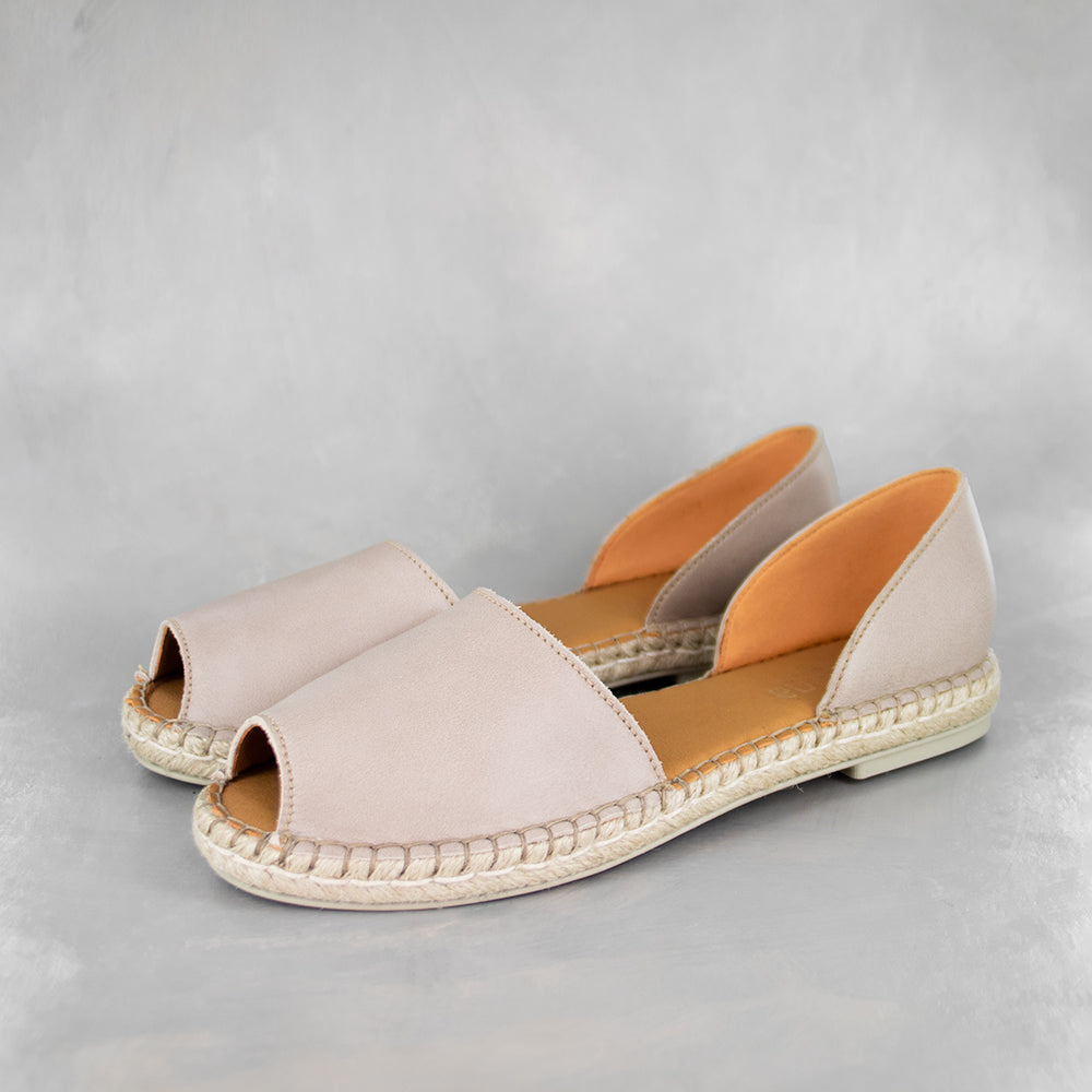 Valelisa : Ladies Leather Espadrille Shoe in Gravel VIntage