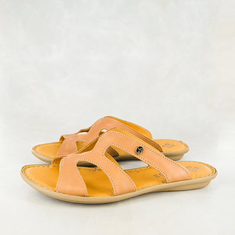 Finyana : Ladies Leather Sandal in Bark Domus Sale