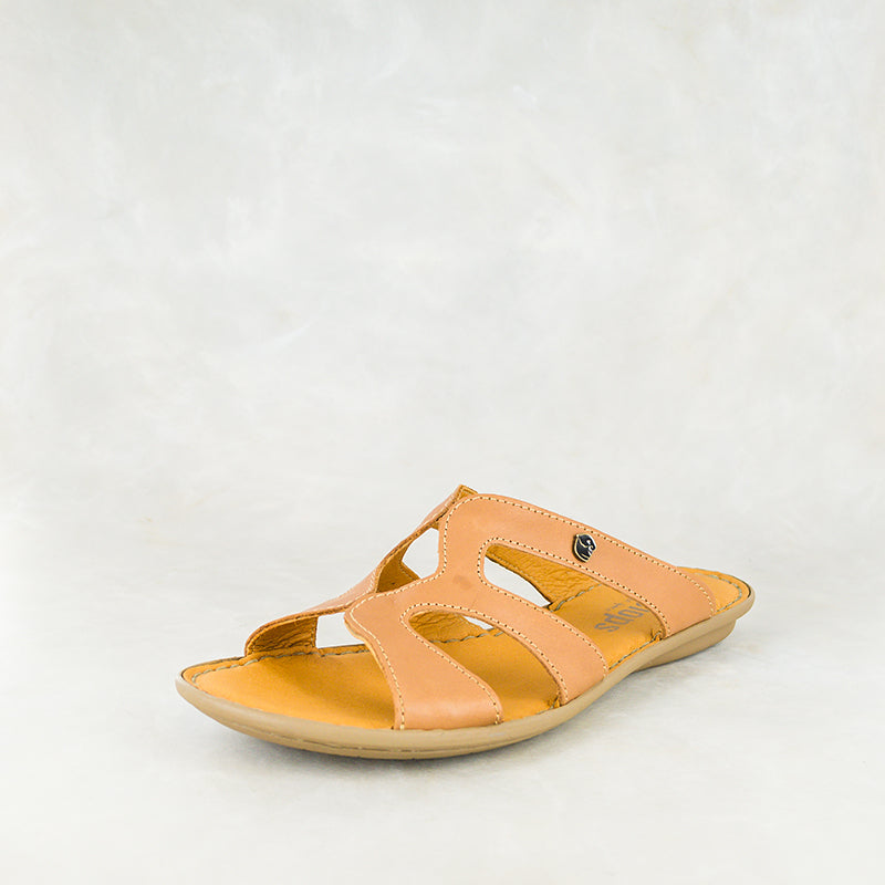 Nephula : Ladies Leather Sandal in Hazel Relaxer