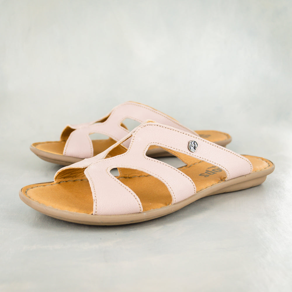 Nephula : Ladies Leather Tslops Sandal in Rose Cayak