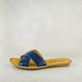 Baqaza : Ladies Leather Tslops Sandal in Denim Cayak Sale
