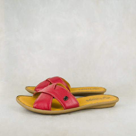 Zibopha : Ladies Leather Mule Espadrille in Rose Cayak