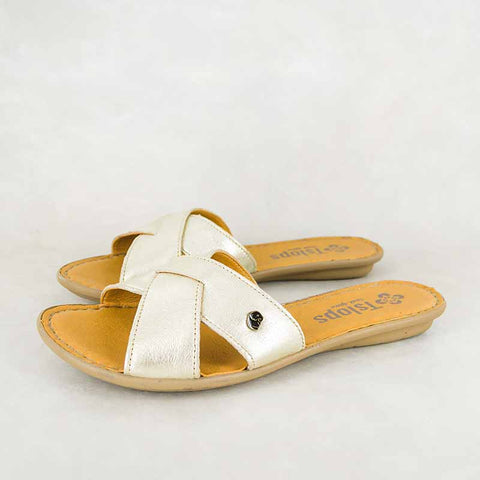 Avele : Ladies Leather Tslops Sandal in Hazel Relaxa