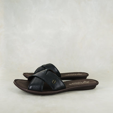 Gadla : Ladies Leather Sandal in Anthracite Metallic Grain