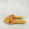 Baqaza : Ladies Leather Tslops Sandal in Hazel Relaxer Sale