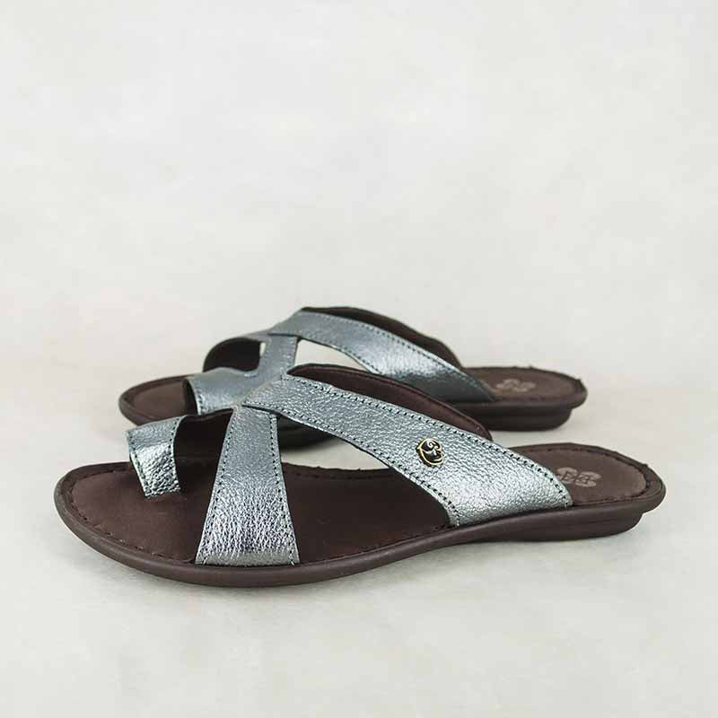 Jokola : Ladies Leather Tslops Sandal in Anthracite Metal Grain