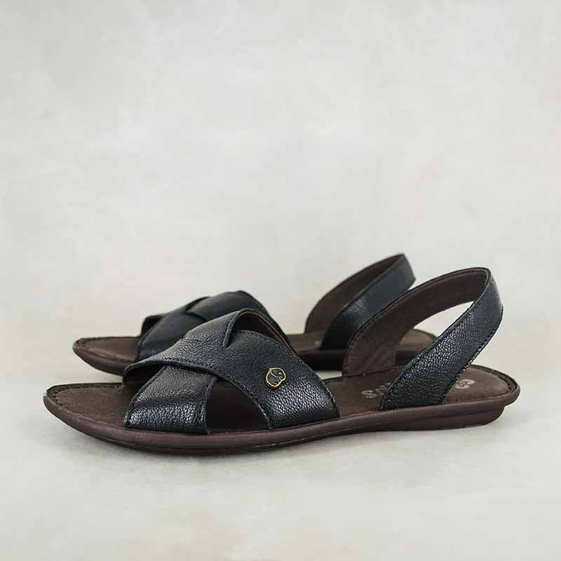 Vakasha : Ladies Leather Tslops Sandal in Black Cayak