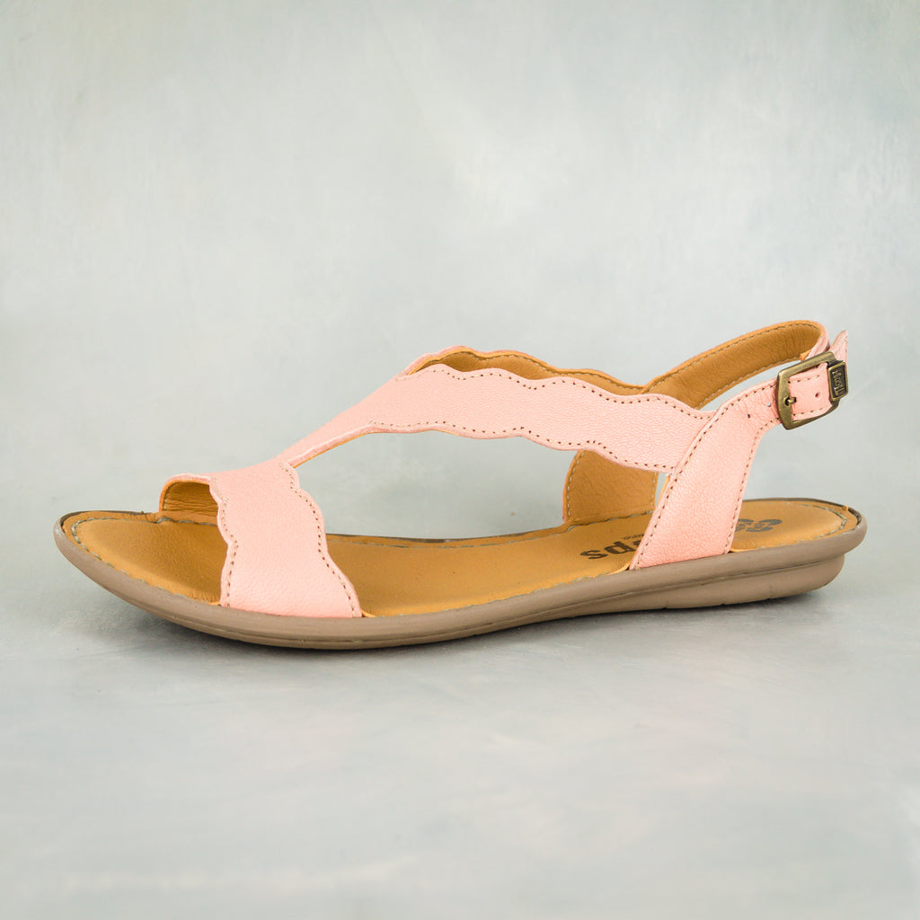 Isafari : Ladies Leather Tslops Sandal in Papaya Cayak
