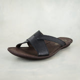 Chazayo : Ladies Leather Tslops Sandal in Black Cayak