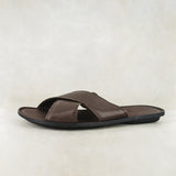 Zwakubi : Mens Leather Tslops Sandal in Choc Delta